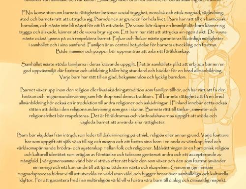 Uttalande av Religionernas Samarbete i Finland med anledning av barnkonventionens 20-årsjubileum