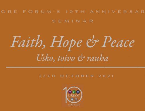 Usko, toivo ja rauha – USKOT-foorumin 10-vuotista taivalta juhlistetaan seminaarilla